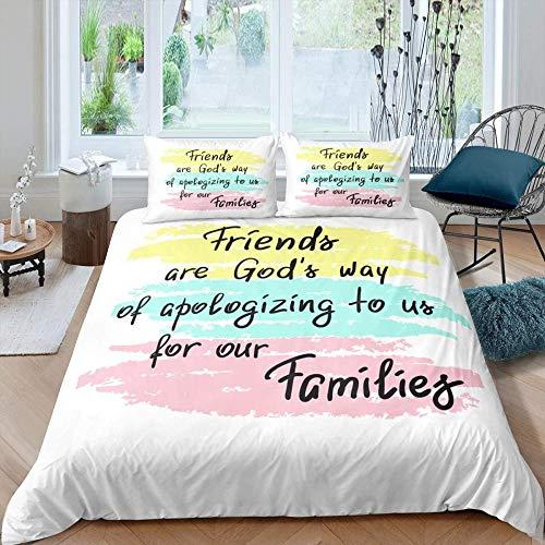 Matasuer Bedding Bedroom Collection Duvet Cover Set - Blue Yellow Pink Watercolor Graffiti Black Alphabet Pattern - King (220 X 230 Cm) 2 Pillowcase 50 X 75 Cm Soft Easy Care Anti-Allergic Bedding Se