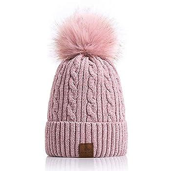 PAGE ONE Women Winter Pom Pom Beanie Hats Warm Fleece Lined,Chunky Trendy Cute Chenille Knit Twist Cap/Pink