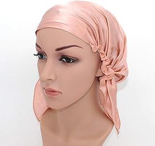 YL trd V Natural Silk Sleep Night Cap Head Cover Silk Bonnet for Hair Beauty (ROSE PINK)