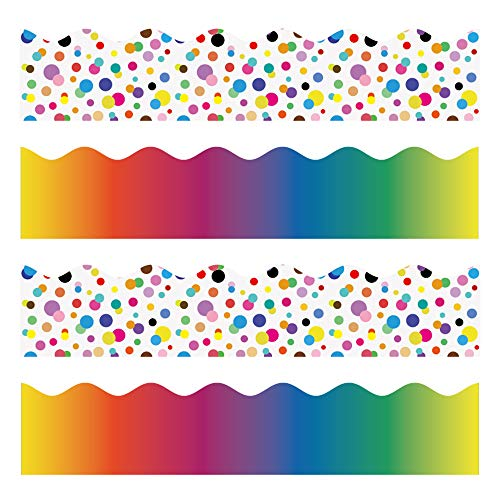 Color Bulletin Borders Stickers, 80 ft Back-to-School Decoration Borders for Bulletin Board/Black Board/Chalkboard/Whiteboard Trim, Teacher/Student Use for Classroom/School Decoration, 2 Set