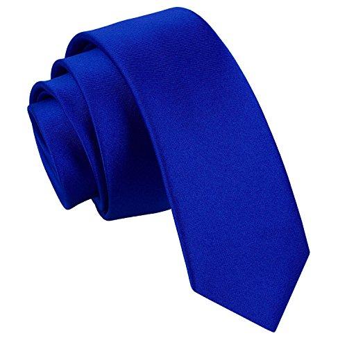 DQT Neuf Classique Bleu Royal Cravate Skinny Fine Mariage Fashion Satinée 30+ Couleurs