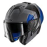 Shark Unisex-Adult Flip-Up Helmet (Matte Dark Grey/Black/Blue, XL - 61-62 cm - 24-24.4'')