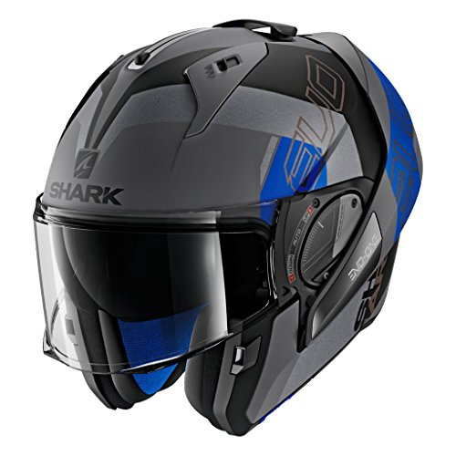 SHARK HE9715DAKBXL Unisex-Adult Flip-Up Helmet (Matte Dark Grey/Black/Blue, XL - 61-62 cm - 24-24.4
