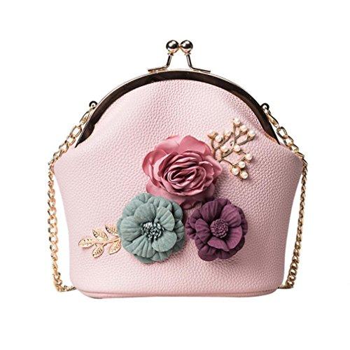 Logobeing Bolso de Hombro Bolso de Flores Estéreo Bolso Pequeño Bolso de Mujer Mano Con Correa Para El Hombro (Rosado)