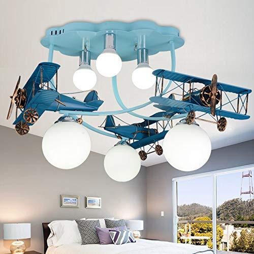 RUNNUP Pendelleuchte Kinderzimmer Lampe Flugzeug Hängelampe mit LED 6 Glasschirm Semi Flush Lampe Doppeldecker bunt Mädchen & Jungen [Energieklasse A+]