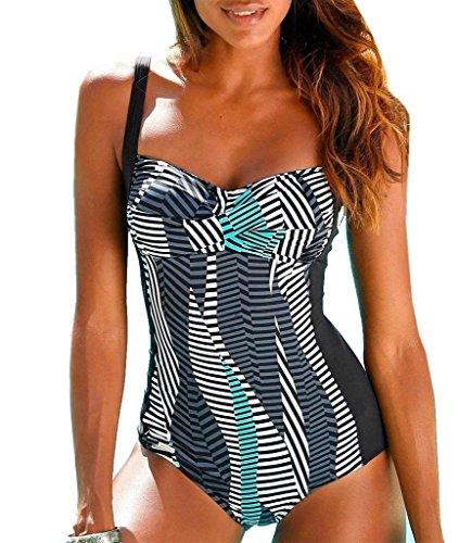 Sunseeker Damen Badeanzug mit Softcups und Unterbrustgummi (Schwarz-mehrfarbig, D44)