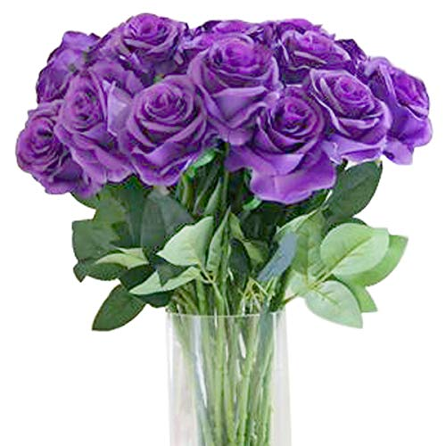 Bringsine Premium Artificial,Real Touch Pu Silk Rose Fake Flowers Home Decorations for Bridal Wedding Bouquet,Birthday Bunch Hotel Party Garden Floral Decor-Purple