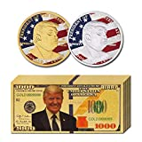 LONG7INES 10Pcs USA President Donald Trump 2018 Gold Foil 1000 Dollar Bill Banknote + 2Pcs Official Authentic 24k Gold-Plated Gold Donald Trump Commemorative Coins in Gold and Silver
