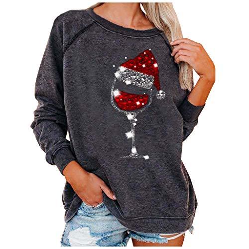 WAJLSWIK Blusa casual para mujer con estampado de Navidad, cuello redondo, manga larga, suelta