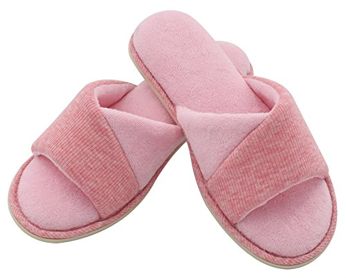 HomeIdeas Women's Open Toe Terrycloth Slide House Slippers with Comfy Velvet Lining, Memory Foam Indoor Shoes