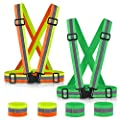 SAWNZC Reflective Vest Running Gear 2Pack, High Visibility Adjustable Safety Vest with 4 Wristbands for Night Cycling, Hiking, Jogging, Dog Walking, One Size for All
