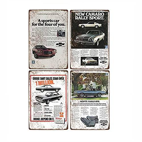 Cartel de coche de metal retro Tin Man Cave Bar Pub Garage Poster Vintage Wall Decorativo 4pcs-2