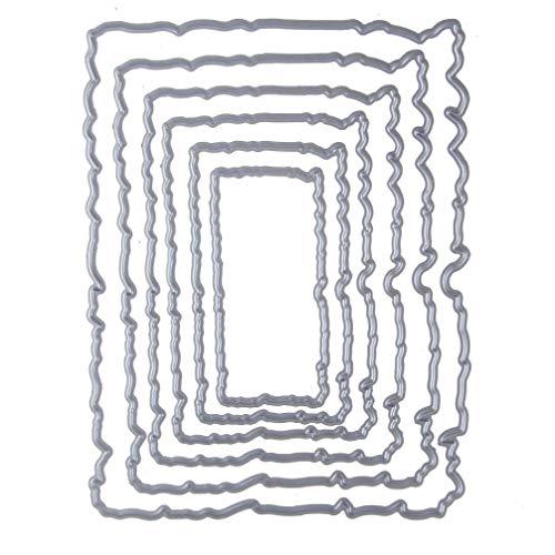 Bontand 6pcs De La Vendimia Marco Rectangular Rasgado Cosido Metal Troqueles De Corte Sellos DIY Scrapbooking Tarjetas De Relieve Lo Que La Plantilla