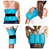 """Ice Packs for Injuries, 10.5""""x14.5"""" Comfytemp Reusable Gel Ice Pack with Strap for Shoulders, Knee, Ankle, Foot, Elbow, Hip, Back Pain Relief, Hot and Cold Compress for Sprains, Swelling, Bruises"""