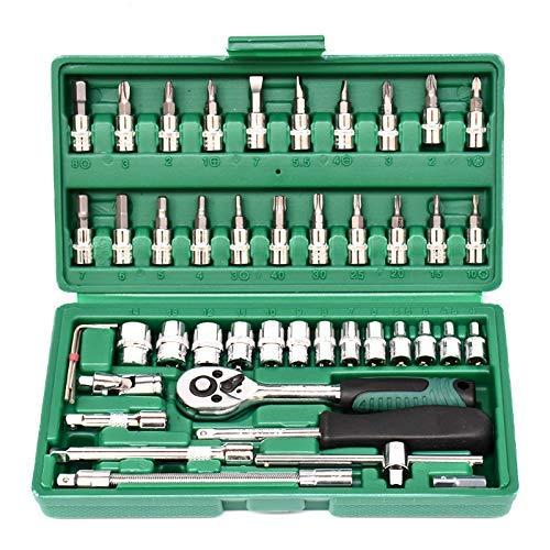 Outingstarcase 46 piezas de reparación del sistema de herramienta de la manga de la manga Xiaofei automático del sistema de herramienta de carraca 1/4 Pequeño rápida Juego de llaves Herramientas indus
