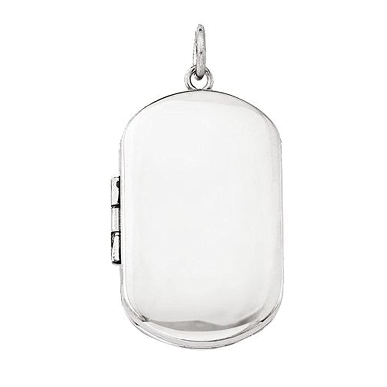 PicturesOnGold.com Sterling Silver Dog Tag Locket - 1 Inch X 1-1/4 Inch in Sterling Silver