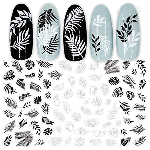 Nail Art Stickers Iridescent Nail Art 1 Feuille Noir Blanc 3D Nail Art Autocollants Curseurs Fleurs Feuilles Géométrie Adhésif Nail Decals Feuille Design-01-
