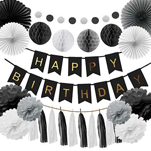 Happyhours Geburtstagsdeko Birthday Girlande Set Deko Geburtstag für Junge, Männer in Schwarz und Grau (Deko Geburtstag Schwarz)