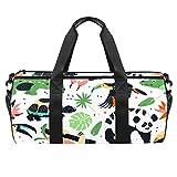 Bolsa de deporte redonda con correa de hombro desmontable con diseño de animales del zoológico exótico, bolsa de entrenamiento para mujeres y hombres