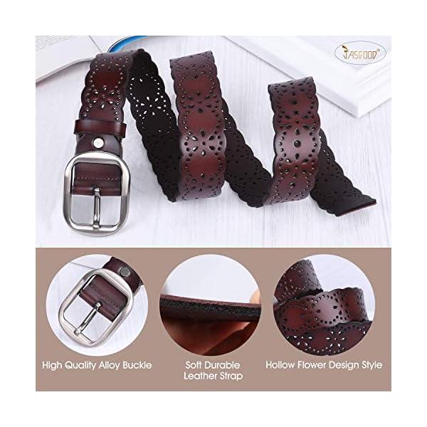 JASGOOD Women's Hollow Flower Leather Belt 3