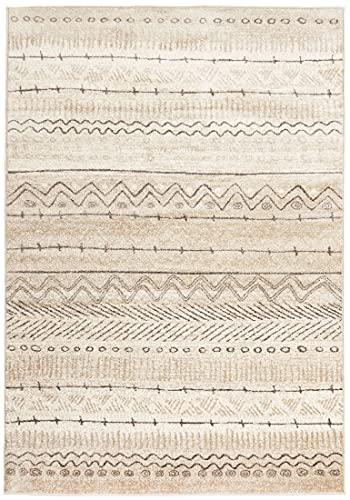 Carpeto Rugs Modern Boho Teppich - Kurzflor Teppich Boho Style -Weich Teppich für Wohnzimmer, Schlafzimmer, Esszimmer - Teppiche - Beige Creme - 80 x 150 cm