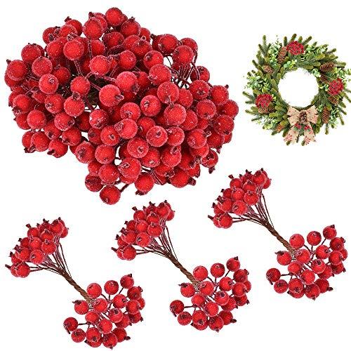 EMAGEREN 400pcs Künstliche Holly Beeren Mini Weihnachten Künstliche Frucht Rote Weihnachten Beeren Gefrostet Beerenzweige Künstliche Blumen Beeren für Weihnachtsbaum Ornamente Weihnachtsdeko