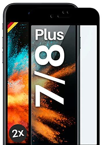 moex Protector de pantalla completo compatible con iPhone 7 Plus/iPhone 8 Plus – Protector de pantalla sin bordes, pantalla completa, cristal protector curvado 3D, transparente 2 unidades, negro