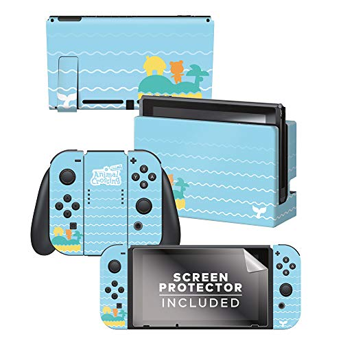 Controller Gear Authentic and Officially Licensed Animal Crossing: New Horizons - Whale Tales Nintendo Switch Skin Bundle - Nintendo Switch