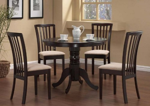 Check Price 5 Pc Round Dining Table 4 Chairs Chair Set Cappuccino Lionel Mcdonald Dfgc