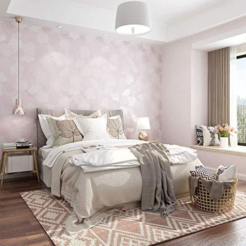 SJW Papel Pintado no Tejido de la vena Caliente Hojas pequeñas Rural Sitio de la Muchacha Matrimonio habitación Dormitorio del Papel Pintado (Color : Pink)