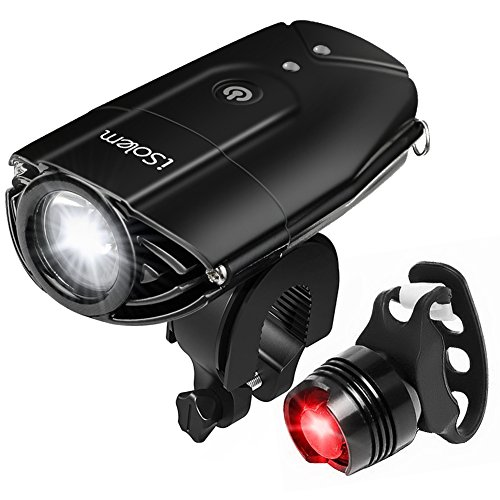 iSolem Rechargeable LED Bike Light Set, 3-Mode Bicycle Headlight and Taillight Combinations, IP65 Waterproof Front and Rear Cycling safety Flashlight - Easy to Install for Kids and Adults