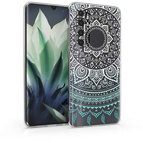 kwmobile Funda Compatible con Xiaomi Mi Note 10 Lite - Carcasa de TPU y Sol hindú en Menta/Blanco/Transparente