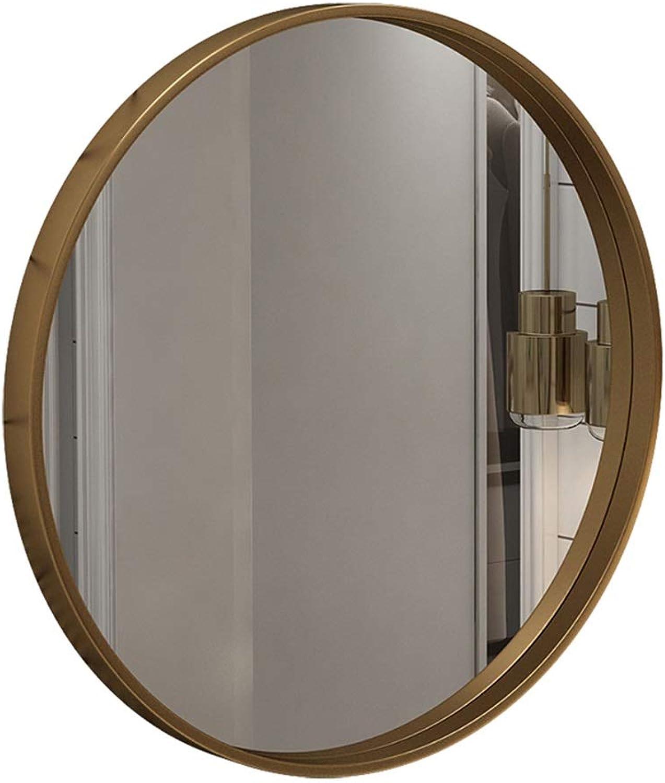 GSHWJS Bathroom Mirror Hanging Mirror gold Metal Frame Round Wall-Mounted Vanity Mirror and Shaving Mirror Flat Mirror Decorative Mirror Wall Mirror (Size   Diameter 40cm)