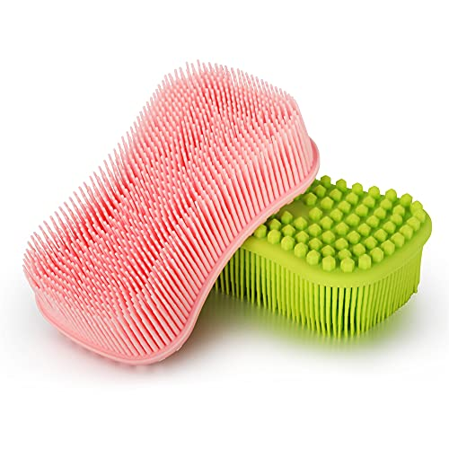 ELFRhino Silicone Body Scrubber, Gentle Exfoliating Cleaning Loofah, Soft Body Brush, SPA Massage Skin Care Tool, Scalp Massager for Women and Men, 2 Pack (Pink+Green)