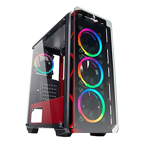 Noua Cool G6 Rosso Case ATX PC Gaming 0.60MM SPCC 4 Ventole Dual Halo RGB Rainbow 5V 3Pin ADD RGB Front Tempered Glass 3*USB3.0/2.0 Pannelli Laterali in Vetro Temperato (AxPxL: 480x425x200 mm)