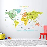 DECOWALL DLT-1616N Colourful World Map Kids Wall Stickers Wall Decals Peel and Stick Removable Wall Stickers for Kids Nursery Bedroom Living Room (Xlarge) décor