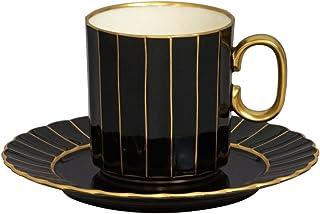 ナカヤマ ニューボン菊型 エクセレントブラックゴールド コーヒー碗皿