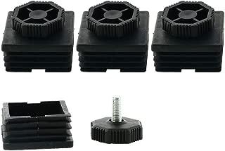 uxcell Leveling Feet 50 x 50mm Square Tube Inserts Kit Furniture Glide Adjustable Leveler for Desk Leg 4 Sets