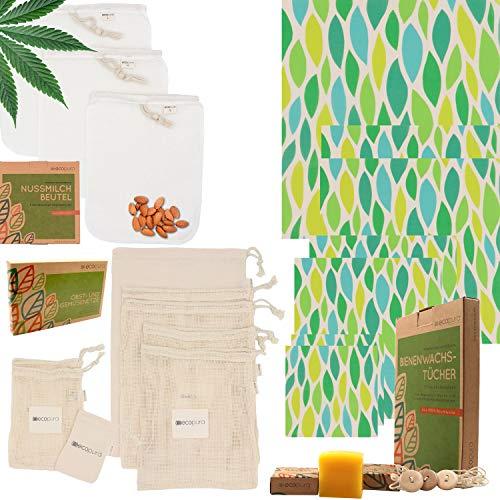 """ecopura® Zero Waste Küchen Set """"Wiederverwendbar"""" - Nussmilchbeutel (3 St.), Bienenwachstücher (7 St.), Obst und Gemüse Beutel (8 St.) - Plastikfrei - Umweltfreundliche Produkte, Nachhaltige Geschenke"""