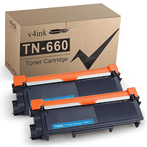 V4INK Compatible Toner Cartridge Replacement for Brother TN630 TN660 (Black, 2-Pack), for use in Brother HL-L2340DW HL-L2300D HL-L2360DW HL-L2380DW DCP-L2540DW HL-L2320D MFC-L2720DW MFC-L2740DW