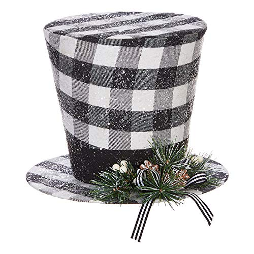 RAZ Imports Christmas in The Country 9' Checked Top Hat - Festive Miniature Sculpture and Holiday Home Décor - Christmas Decoration for Office, Bedroom, Living Room, Kitchen and Bookshelves