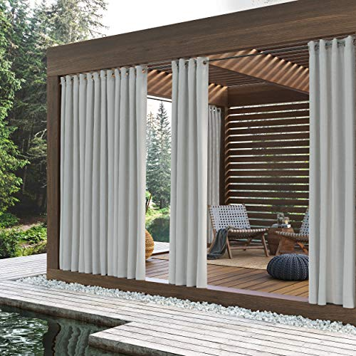 "Sun Zero Beacon Woven Indoor/Outdoor UV Protectant Grommet Curtain Panel, 52"" x 95"", White"