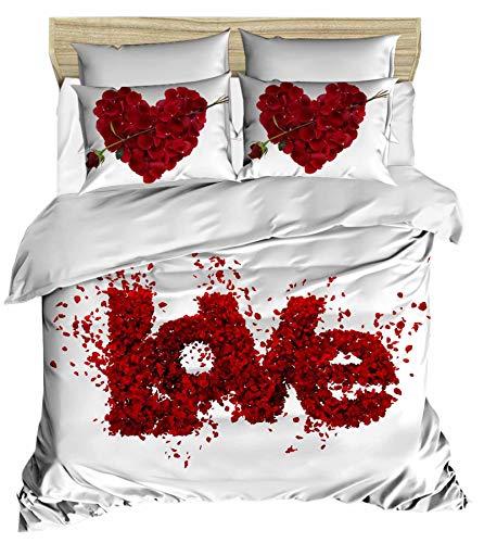 3D Liebe Bettbezug Set | Double Duvet Cover Set | % 100 Baumwolle | 200x220 Double | 3er Set Bettwäscheset mit Bettbezug und Kissenbezug | 3 in 1 with Duvet Cover and Pillow Covers