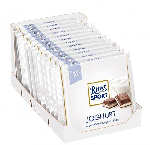 RITTER SPORT Joghurt (12 x 100 g), Vollmilch-Schokolade mit Joghurt gefüllt, erfrischende Magermilch-Joghurt-Creme, Tafelschokolade im Knickpack
