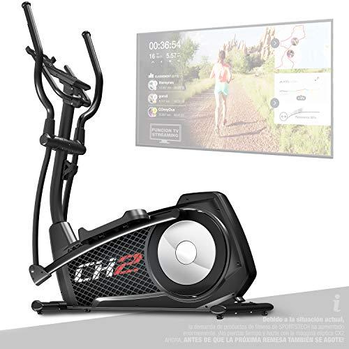 Sportstech CX2 Bicicleta elíptica -Marca de Calidad Alemana- Eventos en Directo y App Multijugador, Generador de Energía Integrado, Entrenador elíptico con Consola y Soporte para Tablet, Volante 27Kg