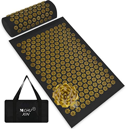 Acupressure Mat and Neck Pillow Set Back and Neck Pain Relief,Include Yoga Acupuncture Mat + Pillow + Backpack for Relieves Stress,Sciatic,Insomnia,Trigger Relaxation Therapy