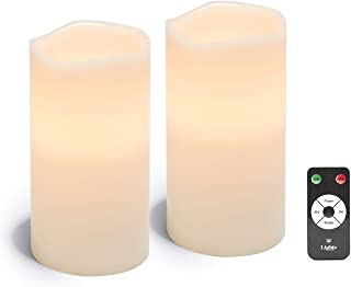 Large Flameless Pillar Candles - Set of 2 White Wax Candle Set, 4 x 8 Inches, Melted Edge, Warm White LED Light - Batterie...
