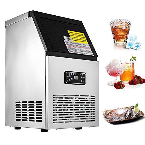 HuSuper 220V Eiswürfelmaschine kommerziell Eismaschine Eisbereiter Edelstahl Eiswürfelmaschine Ice Maker für Home Supermärkte Cafés Bäckereien Bars Restaurants Snack Bars Verwendung (Edelstahl)