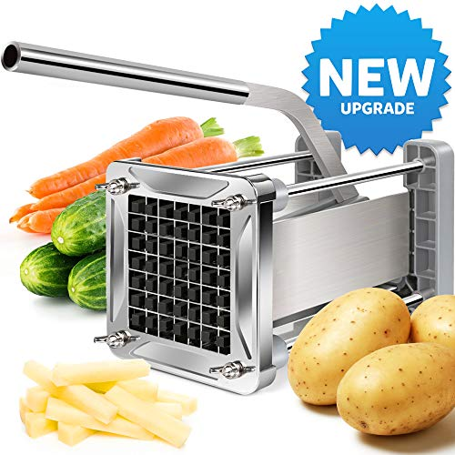 [New Upgraded] French Fry Cutter, LEOBRO Stainless Steel Potato Chipper Cutter With Sharper 1/2 Inch...