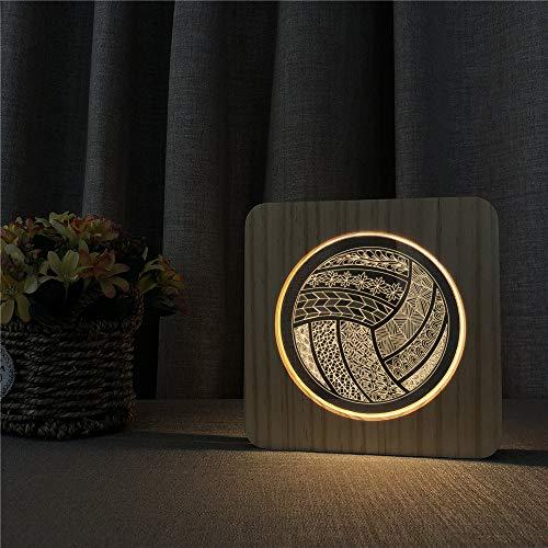 Diseño de Voleibol Lámpara de Mesa de luz de Noche de Madera acrílica Interruptor de Control lámpara de Grabado para niños Regalos Deportivos